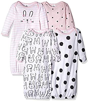 Gerber Baby 4-Pack Gown, Pink Bunny, 0-6 Months by GERLO