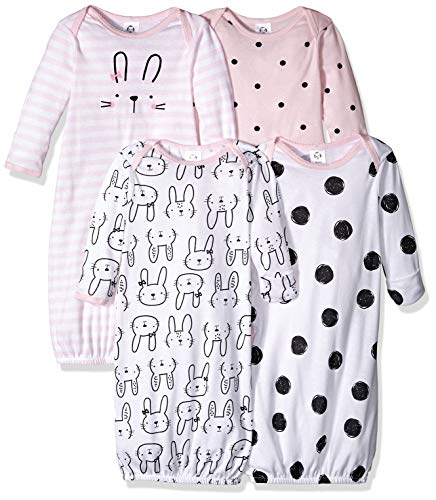 Gerber Baby Girls' 4 Pack Gowns, Pink Bunny, 0-6 Months