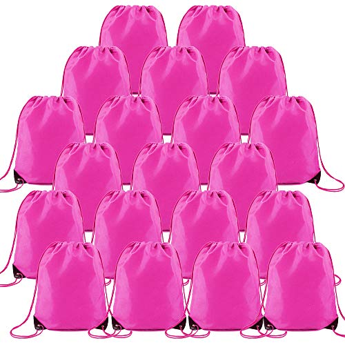 Pink Drawstring Backpack bags Set of 20 DIY Personalized Cinch Sack Pack Heavy Duty Perfect for Iron-on Transfer Bulk Pull String Sackpacks for Gym Travel Sports Workout