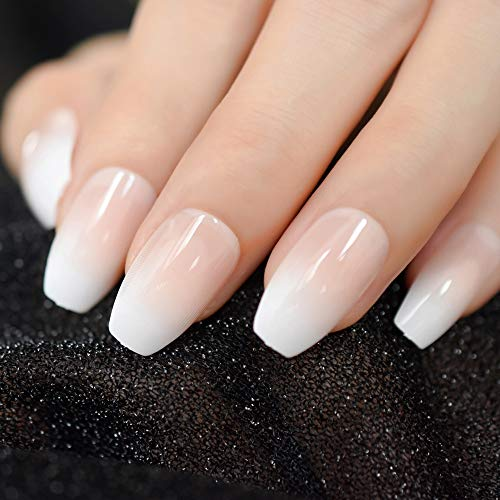 CoolNail Pink Nude White Ombre French Ballerina Coffin False Nails Gradient Natural Manicure Press on Fake Nails Tips Daily Office Finger Wear