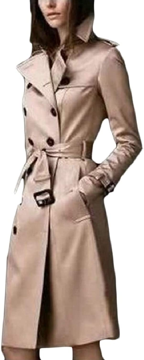 TymhgtCA Women Slim Maxi Long Length Trench Coat Double Breasted Jackets