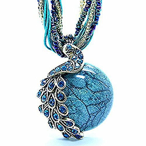ZONMAN Handmade Retro Necklace with Opal and Peacock Pendant Bohemian Style, Wonderful Women Jewelry Gifts (A8)