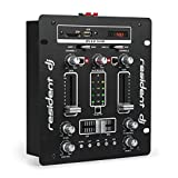 Resident DJ DJ-25 - DJ-Mixer, Mesa de Mezclas, 2 Canales, Compacta, Bluetooth, USB, SD, 2 entradas de línea, Fácil de Usar, Sólida, Pantalla LCD, 2 terminales para Altavoz, Negro/Blanco