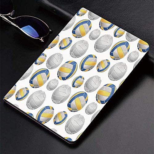 Qinniii Carcasa con Magnetic Auto-Sueño,Amarillo y Azul, Vóleibol vívido Iconos Deportivos Actividad Hobby Equipo Jue,Ligéra Protectora Suave Silicona TPU Smart Cover Case para iPad Air 1Air 2,