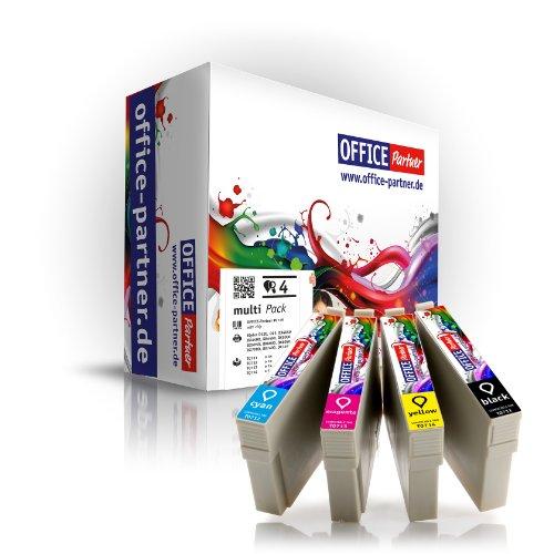 Multipack 4 Cartuchos de tinta compatibles para Epson T0715 con la viruta para Epson Stylus D120 / D78 / D92 / DX4000 / DX4050 / DX4400 / DX5000 / DX6000 / DX6050 / DX7000F / DX7400 / DX7450 / DX8400 / DX8450 / DX9400F, BX300F / BX600FW, S20 / S21 / SX100 / SX105 / SX110 / SX115 / SX200 / SX205 / SX210 / SX215 / SX400 / SX405 / SX410 / SX415 / SX510W / SX515W / SX600FW / SX610FW