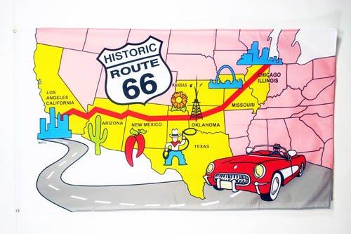 AZ FLAG Drapeau USA Route 66 150x90cm - Drapeau américain - Etats-Unis 90 x 150 cm - Drapeaux