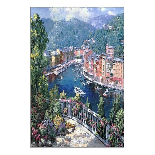 """Beautiful Modern Art Watercolor Painting Italian town of Portofino Canvas Print Wall Art 12"""" x 18"""" Inch, Stretched and Framed Artwork Decor Wall Living room Office, Art Abstract City Landscape Watercolor Picture Canvas Wall Art Print"""