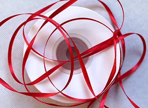 Cinta de raso de doble cara, 100 m, 3 mm de ancho, color bermellón (rojo oscuro)