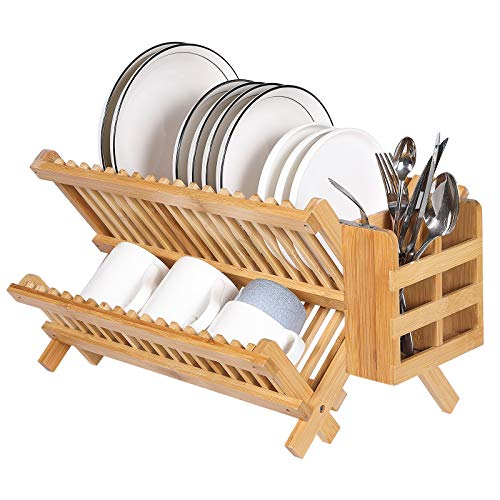 Luckore Bamboo Dish Drying Rack,Collapsible Compact Dish Drainer Rack,2-Tier Large Folding Drying Holder,Cups and Utensils Holder for Kitchen Counter