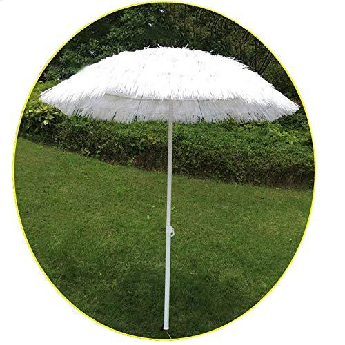 Parasol 6 Piedi Bianca Nappa Il Giro ombrellone, Coperto con Finto Paglia Paglia ombrellone Hawaiano/Sole Ombra da Giardino (Base Non Inclusa) CMXZ