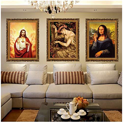 Imagen de la Divina Misericordia Amor Jesucristo Motivación Lienzo Pintura Imprimir Poster Pictures for Living Room Dormitorio Arte de la pared-50x70cmx3pcs Sin marco