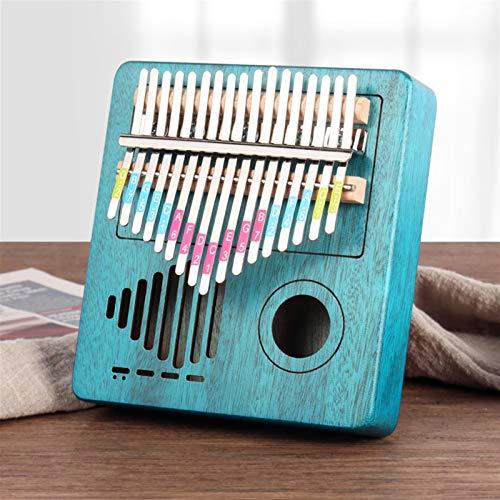YSTSPYH Daumen Klavier 17 Key Thumb Piano Massivholz Einzelner Brett Mahagoni Keyboard Instrument Holz Kalimba Finger Piano (Color : Radio Blue)