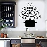 Tianpengyuanshuai Adhesivos de Palabras en la Cacerola de la Pared Buena Comida es Buen Humor Aroma Restaurante Cocina diseño Pegatina Vinilo Ventana decoración 63x66cm