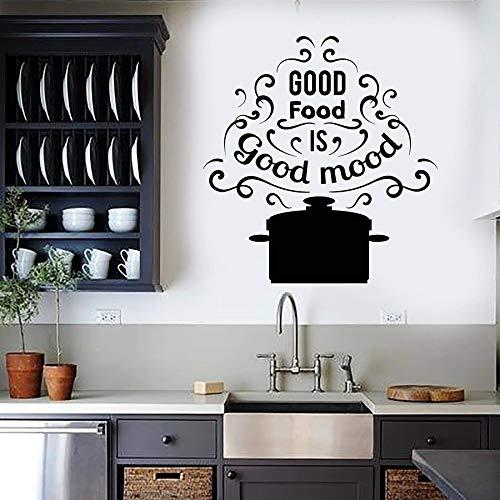 Tianpengyuanshuai Wandtattoos Wörter Pfanne gutes Essen ist Gute Laune Aroma Restaurant Küche Aufkleber Vinyl Dekoration 85X40cm