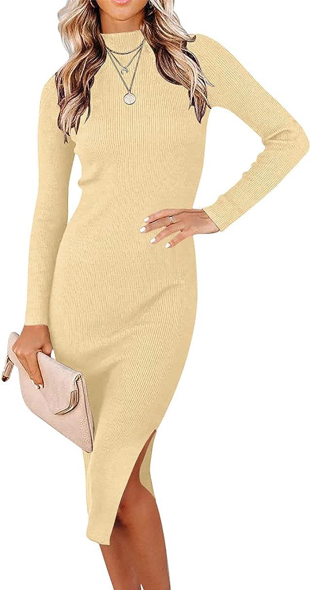 ANRABESS Women's Long Sleeve Ribbed Sweater Dress Turtleneck Slim Fit Slit Midi Dress