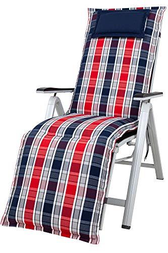 Kettler Polen KETTtex 2128 Auflage Relaxliegen Rom blau-rot Sitzpolster 170x50x9 cm (ohne Liege)