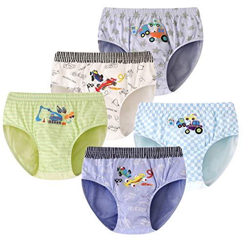 YOUNGSOUL Jungen Slips Autos Unterhosen Knaben Kinder Schlüpfer Baumwolle Unterwäsche 5er Pack Modell 2 8-10 Jahre 128-134