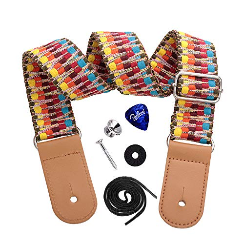 Dulphee Ukulele Strap with 1 Pick & 1 Button, Hawaiian Rainbow Woven Ukulele Shoulder Strap with Leather Ends for All Ukuleles, Mandolin & Banjo(Rainbow)