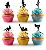 Strippers Pole Dancers Silhouette Acrylic Cupcake Toppers 12 pcs