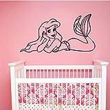 Calcomanía de pared de la Sirenita, pegatina de vinilo de princesa y niña, decoraciones artísticas para el hogar, niñas, bebés, dormitorio, baño, decoración de dibujos animados, 42x22 cm