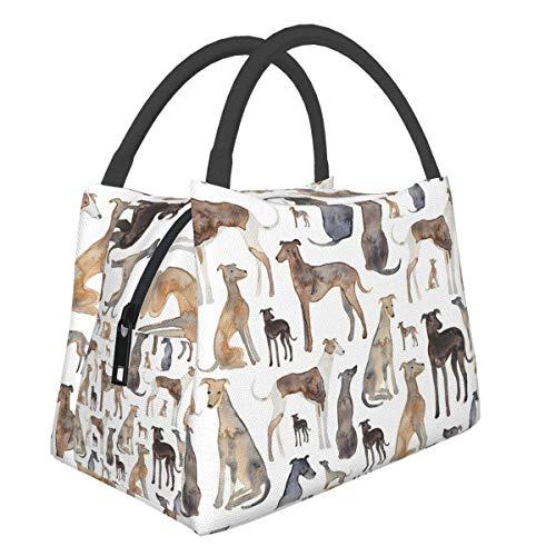 Bolsas de picnic portátiles Bento Bolsa de almuerzo Galgos Toallitas y Perros Lurcher Paquete multifuncional con cremallera para la escuela, trabajo, oficina, bolso de aislamiento Bento
