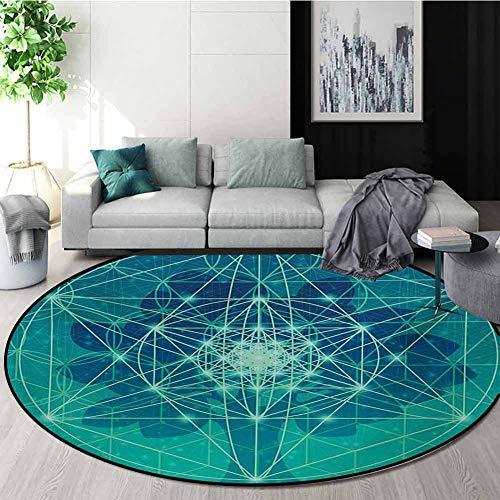 Buy Bargain RUGSMAT Sacred Geometry Modern Machine Washable Round Bath Mat,Digital Futuristic Tree o...
