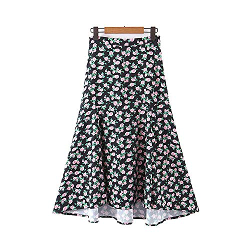 Falda lateral irregular con cremallera lateral, diseño de mosca dividida, elegante, para verano, hasta el tobillo faldas
