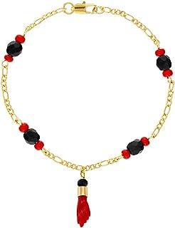 comprar comparacion In Season Jewelry - Pulsera chapada en oro de 18 quilates con amuleto de protección contra el mal de ojo, color rojo