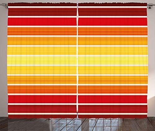 ABAKUHAUS Rayas Cortinas, Las Rayas horizontales de Colores, Sala de Estar Dormitorio Cortinas Ventana Set de Dos Paños, 280 x 175 cm, Multicolor