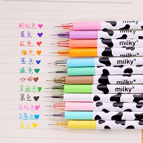 ZAONE Colorful Cute Diamond Gel Pen Candy Color Milky Cow Pens Set Writing Kawaii Stationery School Office Supplies Set of 12 Colors (Milky Cow)