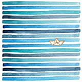 CasaJame Set di 40 (2 Confezioni da 20 Pezzi cad) Tovaglioli in Carta Monouso 3 Strati Veli 33x33cm Colore tonalità di Blu Motivo Barca di Carta