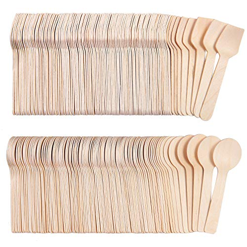 Tupa 100 Pack Mini Wooden Spoons Square Spoons and Round Spoons Style Eco-Friendly Biodegradable Compostable Set for Parties, Events and Weddings