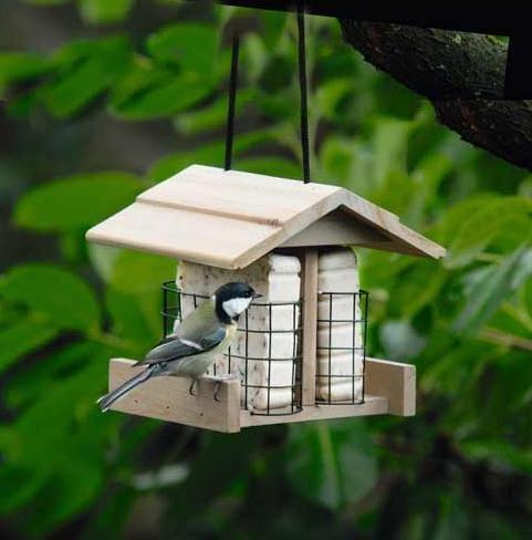 Houten vogel huis, vogelhuis, vogelhuisje, vogelvoer huis 18,5 x 17,5 x 17 cm (LHS)