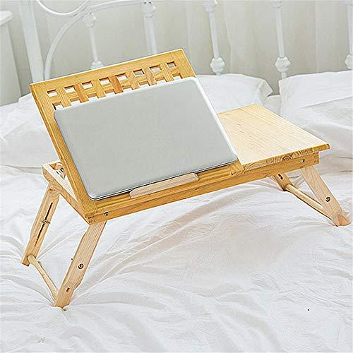 ZHBD Laptoptisch betttisch Lapdesk Tabelle Bett-Behälter-Klapptisch Schwenkbarer Top Laptop-Schreibtisch mit Schublade Bambusholz Einfach zu verwenden (Farbe : Wood, Size : One Size)