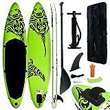 Tidyard Tabla de Paddle Surf Hinchable Stand Up Paddle Portátil Deporte Viaje Incluida Mochila Accesorios Bomba Manual Carga hasta 140 kg 305x76x15 cm Verde