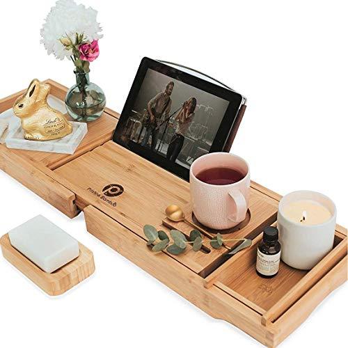 Badewannenablage aus Bambus, 10 Funktionen Erweiterbarer Badewannenablage für Wanne mit Buchhalter Badewannen-Regal aus Holz Verwendung als Badewannenablage, Schreibtischablage oder Badewannen-Zubehör