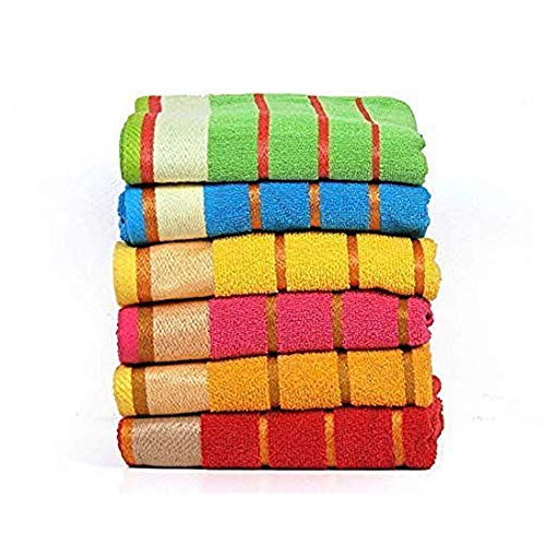 100% Cotton Bath Towels Set of 6 ThreeLineExtraAbsorbentCotton Size 27 X 54 Random Color Assorted Style Light Weight Quick Dry Best for Parties and Guests