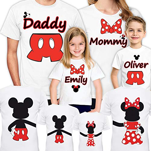 Disney Family Shirts Set of 4-5-6-7 Mickey Minnie Vacation Matching Trip for Gift Christmas T-Shirt 2020 White