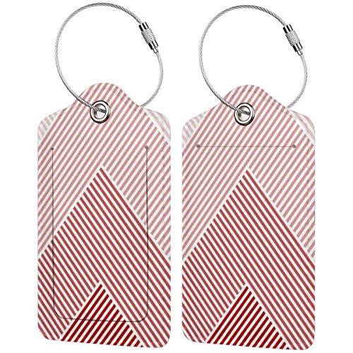 Etiquetas de equipaje con patrón geométrico abstracto de tonos rojos para maletas,...