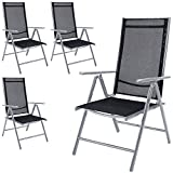 Deuba 4x <span class='highlight'>Garden</span> Dining Chair Bern Folding Chairs Set Aluminum Recliner Outdoor Patio Silver or Anthracite