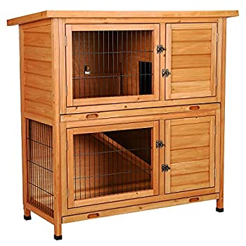 CO-Z 2 Story Wooden Rabbit Hutch Guinea Pig Cage Bunny House Duck Coop Wooden Indoor/Outdoor Hideout Enclosure Outside Pet House for Small Animals