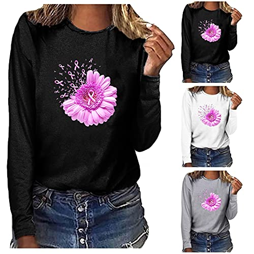 Sweatshirt Top for Women Comfy Breast Cancer Print Graphic Crewneck Pullover Loose fit Blouse Long Sleeve Tshirt Gray