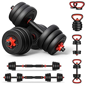 PINROYAL 4 in 1 Adjustable Dumbbell Set 44LB Free Weights Dumbbells Set with Connecting Rod Used as Barbell Non-Slip Handles & Base for Kettlebells Push up Weight Set for Home Gym for Men Women