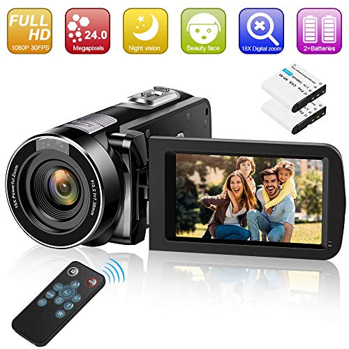 Video Camera Camcorder Digital YouTube Vlogging Camera Recorder GOXMGO 1080P 30FPS 240MP 30 Inch 270° Rotatio LED Screen 18X Digital Zoom Camcorder with IR Night Vision and Remote Control