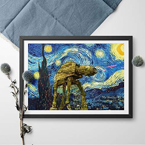Modern Leinwand Malerei Vincent Van Gogh Sternennacht Star Wars Malerei Poster und Druck Wandkunst Bild Moderne Wandkunst Bild Home Decor 50 * 75cm
