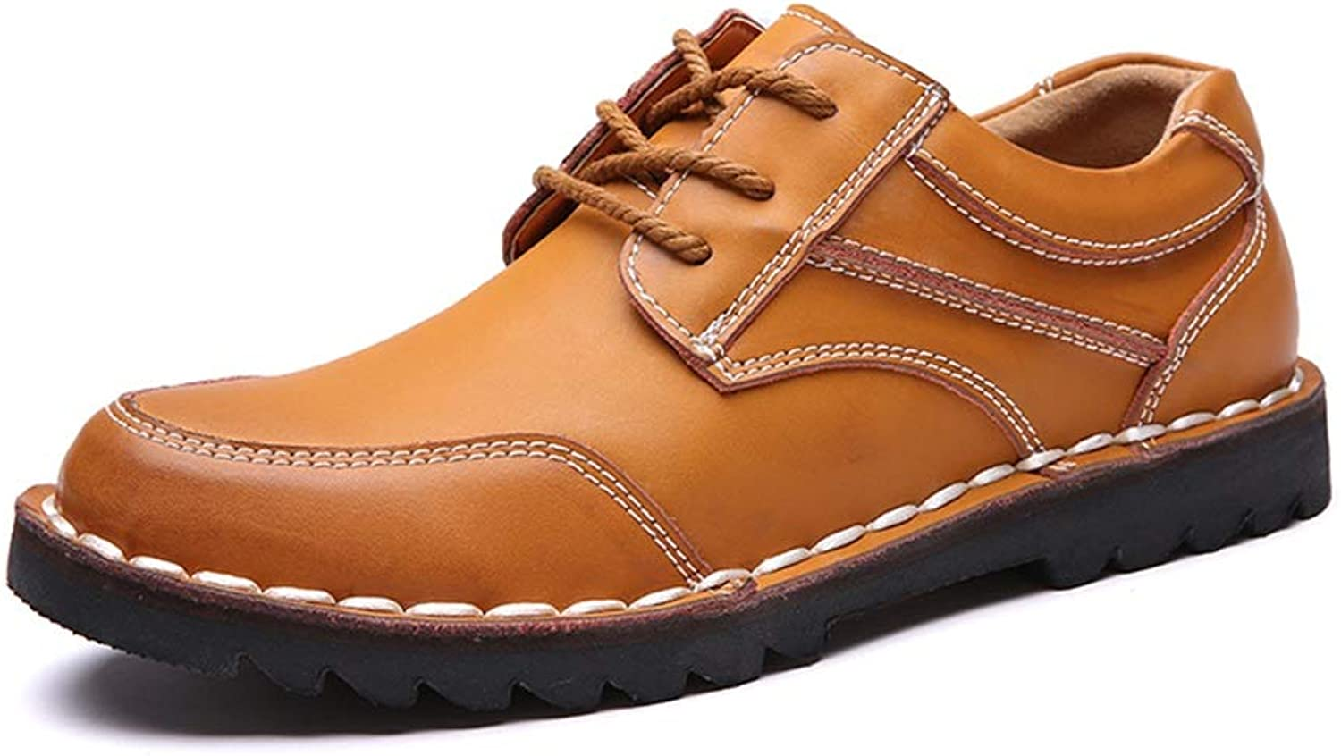 Easy Go Shopping Work Boots for Men Low Top shoes Leather Lace up Style Strong Anti Slip Outsole Riding Hiking Cricket shoes (color   Yellow, Size   8 UK)