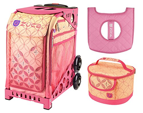 Zuca Sunset Sport Insert Bag and Pink Frame with Flashing Wheels, Matching Lunchbox and Seat Cushion