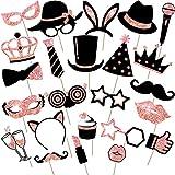 24 Foto Props de Fiesta Accesorios de Cabina de Foto Mezcla de Sombreros, Copa de Vino, Lápiz Labial, Corbata, Coronas y Más para Fiesta de Variedades Cumpleaños Boda (Oro Rosa)