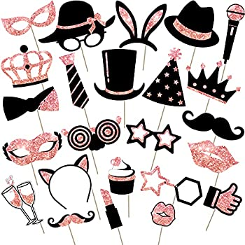 24 Pieces Party Photo Booth Props Mix of Hats Wine Glass Lipstick Tie Crowns and More for Variety Party Birthday Parties Weddings  Rose Golden