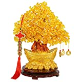 Crystal Money Tree Ingot Feng Shui Money Trees Lucky Tree with Wealth Coins and Removable Base for Home Office Decoration (Trumpet: 19cm)